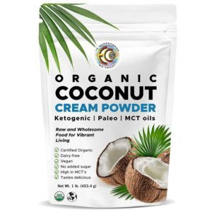 Earth Circle Organics - Organic Coconut Cream Milk Powder, Perfect Keto Coffee Creamer - High in MCT Oil, Vegan, No Added Sugar, Gluten and Dairy Free - 1 Pound