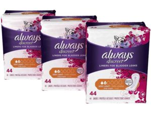 Always Discreet, Incontinence Liners for Women, Very Light Absorbency, 132 Count, Sanitary Liners Long Length, 44 Count- Pack of 3 (132 Count Total)