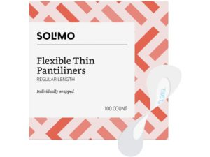 Amazon Brand - Solimo Flexible Thin Pantiliner, Best Panty Liners Regular Length, 100 Count