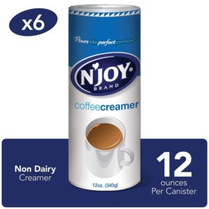 N'Joy Best Coffee Creamer, 12 Ounce (Pack of 6) - Non-Dairy, Easy Pour Lid, Bulk Size
