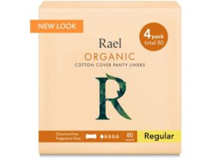Rael Certified Organic Cotton Panty Liners, Regular - 4Pack 80 total - Unscented Pantiliners - Natural Daily Pantyliners (4 Pack)