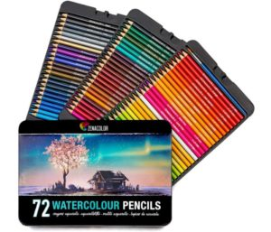 72 Best Watercolor Pencils for Professional, Numbered, with a Brush and Metal Box - 72 Water Color Pencils for Adults and Adult Coloring Books - Watercolor Pencil for Kids…