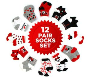 Disney Baby Girls Minnie Mouse Character Assorted Color 12 Pair Best Baby Socks Set, Multi-Color, Age 0-24 Months