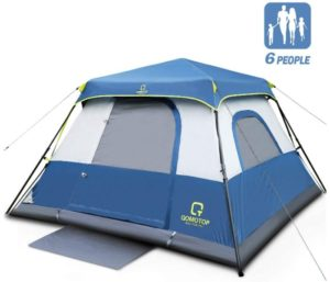OT QOMOTOP 4 6 8 10 Person Instant Cabin Tent with Rainfly, 60s Easy Setup, Best Waterproof Tent for Camping, Advanced Vent Design, Electrical Cord Access Port and Door Mat