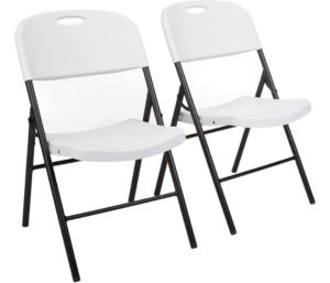 AmazonBasics Folding Plastic Chair, 350-Pound Capacity, White, 2-Pack