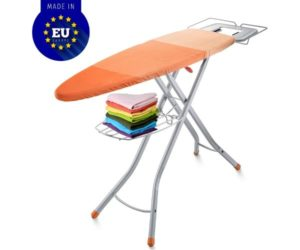 Bartnelli Adjustable Best Ironing Boards with Cover Steam Iron Rest Storage Tray for Finished Clothes, Stability Space Saving Size 48 x 16 European Made Board