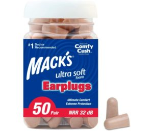 Mack's Ultra Soft Foam Best Earplugs for Swimming, 50 Pair - 32dB Highest NRR, Comfortable Ear Plugs for Sleeping, Snoring, Travel, Concerts, Studying, Loud Noise, Work