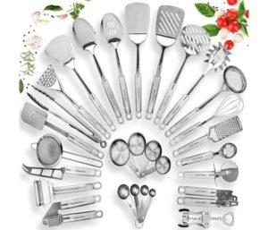 HOME HERO Stainless Steel Best Kitchen Utensil Set - 29 Cooking Utensils - Nonstick Kitchen Utensils Cookware Set with Spatula - Best Kitchen Gadgets Kitchen Tool Set Gift