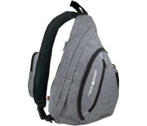 Versatile Canvas Sling Bag Urban Travel Backpack, Grey, Wear Over Shoulder or Crossbody for Men & Women, by NeatPack