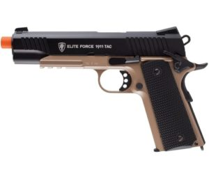 Elite Force 1911 Blowback 6mm BB Best Airsoft Pistol, Airsoft Gun, 1911 TAC, FDE Black