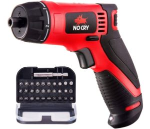 NoCry 10 N.m Cordless Best Electric Screwdriver - with 30 Screw Bits Set, Rechargeable 7.2 Volt Lithium Ion Battery and a Built-In LED Light