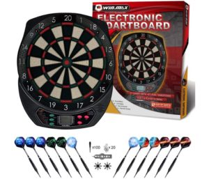 WIN.MAX Best Electronic Dart Board, Soft Tip Dartboard Set LCD Display with 12 Darts, 40 Tips, Power Adapter