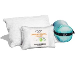Coop Home Goods - Adjustable Travel and Best Camping Pillow - Hypoallergenic Shredded Memory Foam Fill - Lulltra Washable Cover - Includes Compressible Stuff Sack…