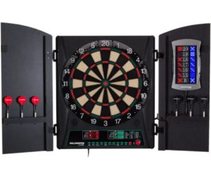 "Bullshooter Cricket Maxx 1.0 Best Electronic Dart Board Cabinet Set with 13.5"" Target Area, Wooden Cabinet Doors with Walnut Finish and 34 Games with 183 Variations…"