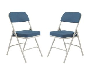 National Public Seating 3200 Series Steel Frame Upholstered Premium Fabric Seat and Back Best Folding Chairs with Double Brace, 300 lbs Capacity, Regal Blue Gray (Carton of 2)