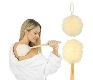 Vive Loofah Sponge Back Scrubber - Men & Women Long Handled Exfoliating Bath & Shower Body Brush - Handheld Luffa Pouf on a Stick for Body, Face Washing…