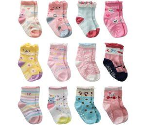 12 Pairs Toddler Girl Grips Socks, Best Baby Socks Girl Home Socks Anti Slip for Kids
