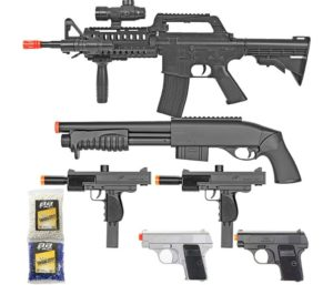 BBTac Airsoft Gun Package - Black Ops - Collection of Airsoft Guns - Powerful Spring Rifle, Shotgun, Two SMG, Mini Pistols and BB Pellets…