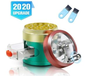 Herb Grinder, Premium 4-Piece Grinder with Pollen Catcher, Zinc Alloy Manual Grinder with Handle, 2.5 Inches Metal Spice Grinder Hand Cranked, Triple Color, 2 Clean Brushes