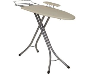 Household Essentials 971840-1 Wide Top 4-Leg Mega Ironing Board with Adjustable Height and Bonus Sleeve Board Natura Cotton Cover
