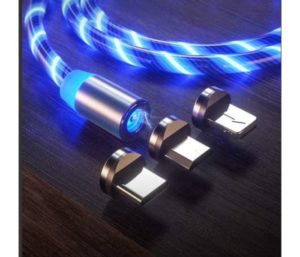 LED Flowing Magnetic Charger Blue Cable Light Up Candy Moving Party Shining Charger Phone Charging Cable Magnetic streamer absorption…