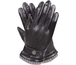 Mens Winter Cold Weather Warm Leather Driving Gloves for Men Wool Cashmere Blend Cuff
