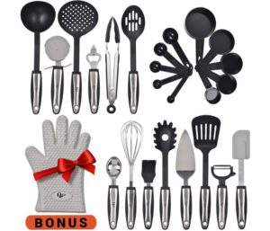 WH-SHOP Kitchen Utensils 25 Pcs Set with Kitchen Tools and Kitchen Gadgets Made of Strong Stainless Steel and Nonstick Nylon - Heat Resistant…