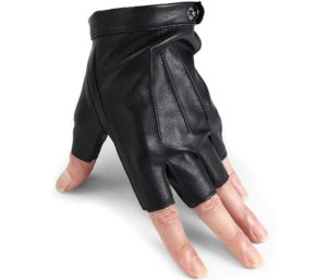 Best Driving Gloves Men Fingerless Leather Gloves Thin Half Finger Black Glove
