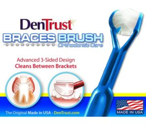 DenTrust Best Toothbrush for Braces 3-Sided Toothbrush Clinically Proven to Remove More Plaque Around Dental Brackets Design Fast, Easy & More Complete Dental Care Made in USA