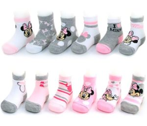 Disney Baby Girls Minnie Mouse Charachter Design Socks 12 Pack (Newborn and Infants)