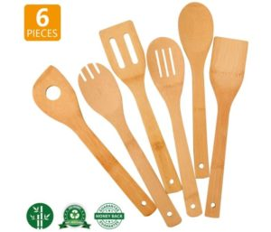 Zhuoyue Best Kitchen Utensil Set, 6 Pcs Bamboo Wooden Spoons & Spatula Kitchen Cooking Tools for Nonstick Cookware and Wok