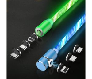 Flowing LED Magnetic Charging Cable.3 in 1 Cable (2 Packs,5 ft) Blue+Green