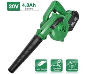 K I M O. Cordless Leaf Blower – 20V 4.0 Ah Lithium Battery Powered Lightweight, Compact 2 in 1 Sweeper & Vacuum for Clearing Dust, Leaf & Snow, Car Vacuum…