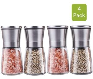 Premium Stainless Steel Salt and Pepper Grinder Set(4 pieces) - Pepper Mill and Salt Mill, Best Spice Grinder with Adjustable Coarseness, Ceramic Rotor