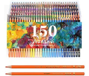 Professional Watercolor Pencil Set 150 Count Art Supplies for Coloring, Drawing, Shading Pre-Sharpened, Fine Point Lead Nontoxic, Water Soluble