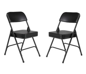 (2 Pack) NPS 3200 Series Premium 2 Vinyl Upholstered Double Hinge Best Folding Chairs, Black