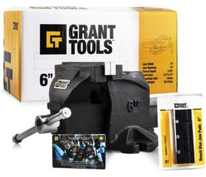 Grant Tools Professional Bench Vise Fixed Base (4 and 6 Available) 2 Vise Jaws Included… (6)