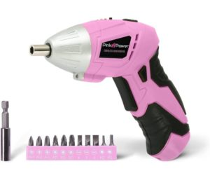 Pink Power PP481 3.6 Volt Cordless Best Electric Screwdriver Rechargeable Screw Gun & Bit Set for Women - LED light, Battery Indicator and Pivoting Head