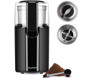 SHARDOR Coffee & Best Spice Grinders Electric, 2 Removable Stainless Steel Bowls for Dry or Wet Grinding, Black
