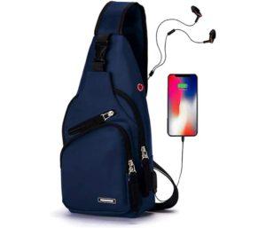 Seoky Rop Men's Best Sling Bag Water Resistant Shoulder Chest Crossbody Bags Sling Backpack with USB Charging Port