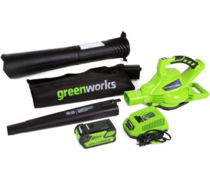 Greenworks 40V 185 MPH Variable Speed Cordless Leaf Blower, Vacuum, 4.0Ah Battery and Charger Included 24322