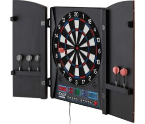 Fat Cat Electronx Best Electronic Dart Board, Built In Cabinet, Solo Play With Cyber Player, Dual Screen Scoreboard Display, Extended Catch Ring For Missed Darts…