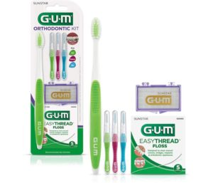 GUM Orthodontic Kit - Orthodontic Best Toothbrush for Braces, 3 Proxabrush Sizes, EasyThread Floss, and Mint Ortho Wax