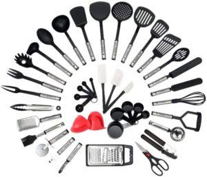 NEXGADGET Best Kitchen Utensil Set - 42-Piece Cooking Utensils - Nylon and Stainless Steel Utensil set - Nonstick Kitchen Utensils Spatula Set - Complete Cooking Tool set…
