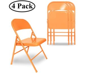 VECELO Best Folding Chairs Triple Braced & Double Hinged Back with Metal Frame for Home Office, Orange
