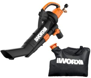 WORX WG509 TRIVAC 12 Amp 3-In-1 Electric Blower, Best Leaf Vacuum Mulcher with Multi-Stage All Metal Mulching System, Black
