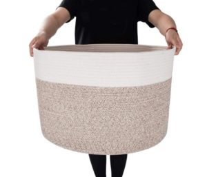 MINTWOOD Best Laundry Basket Design With Extra Large, Decorative Woven Cotton Rope Basket