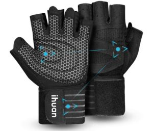ihuan Ventilated Weight Lifting Gym Workout Gloves with Wrist Wrap Support, Full Palm Protection