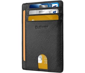 Buffway Slim Minimalist Best Front Pocket Wallet RFID Blocking Leather
