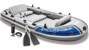 Intex Excursion 5, 5-Person Best Inflatable Boat Set with Aluminum Oars and High Output Air Pump (Latest Model)